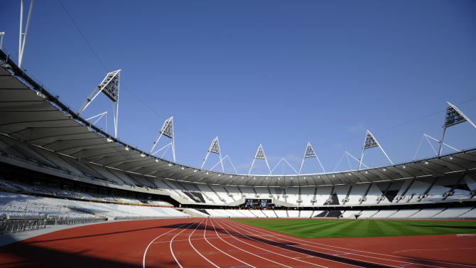 FILE - This Oct. 3, 2011 file photo is a  general view of the London 2012 Olympic stadium in London. Wednesday, April 18, 2012 marks the 100-day countdown to the London Olympics. As London organizers put the finishing touches on the venues and city officials prepare for an invasion of fans, athletes around the world are training for the big moment. (AP Photo/Tom Hevezi, File)