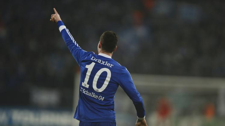 Schalke 04's Draxler celebrates after he scored against FC Basel during their Champions League group E soccer match in Gelsenkirchen