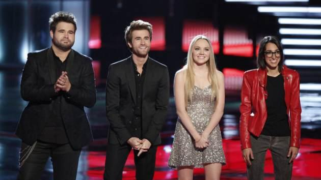 The Swon Brothers, Michelle Chamuel and Danielle Bradbery with Carson Daly on 'The Voice,' June 17, 2013 -- NBC