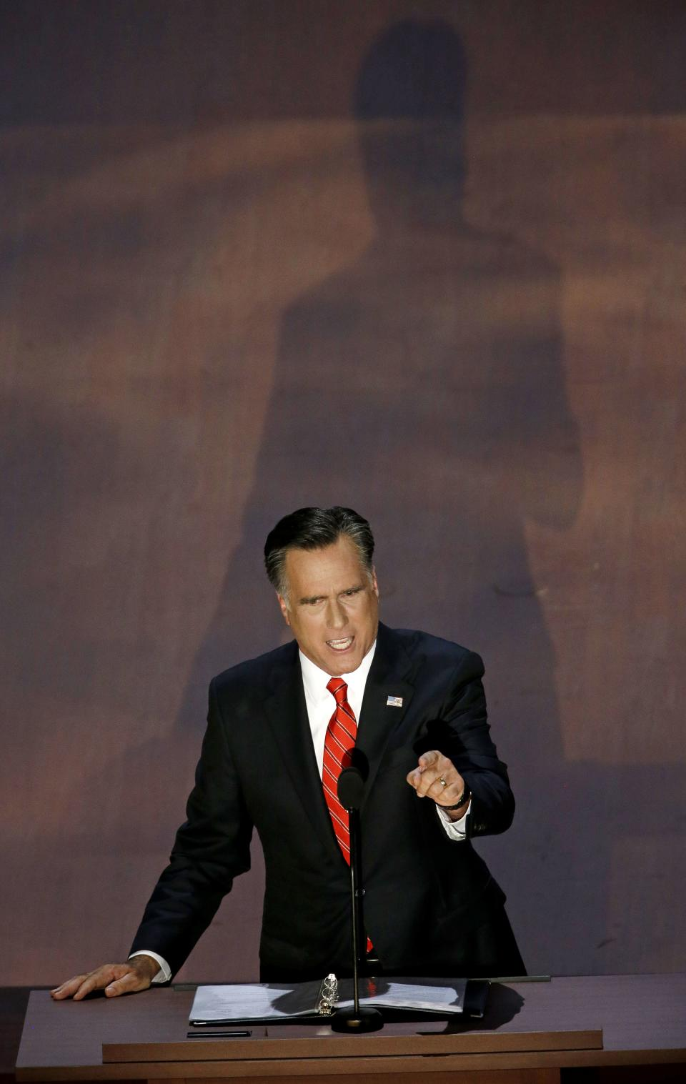Republican presidential nominee Mitt Romney addresses the Republican National Convention in Tampa, Fla., on Friday, Aug. 31, 2012. (AP Photo/Patrick Semansky)