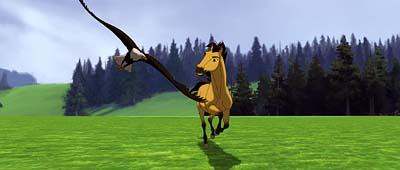 Spirit races with an eagle in Dreamworks' Spirit: Stallion of the Cimarron