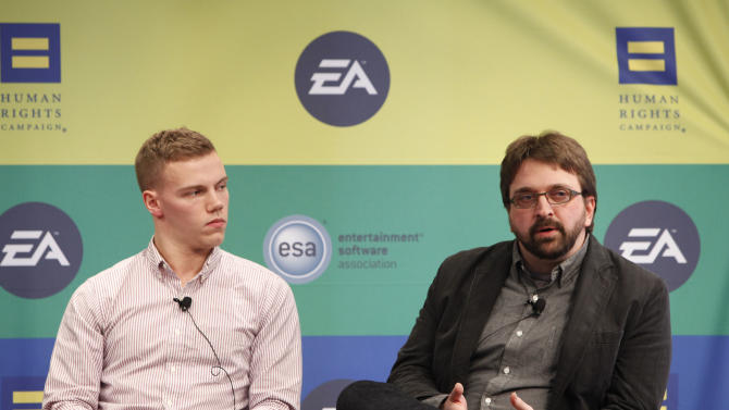 Campus Ambassador Coordinator for Out for Undergraduate Technology Conference (OUTC) Lucas Pattan and Battlefield Community Manager Jaap Tuinman speak at Electronic Arts'  LGBT Full Spectrum Event on Thursday, March, 7, 2013 in New York City, New York. (Photo by Amy Sussman/Invision for EA/AP Images)