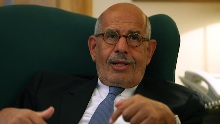 Egypt's leading opposition leader Mohamed ElBaradei speaks to a small group of journalists including The Associated Press at his house in the outskirts of Cairo, Egypt. Tuesday, April 30, 2013. El Baradei said a deeply polarized Egypt needs political consensus to tackle a burning economic crisis and deal with an angry population that has lost hope in its political elite. (AP Photo/Khalil Hamra)