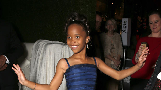 IMAGE DISTRIBUTED FOR FOX SEARCHLIGHT - Quvenzhane Wallis dances at the Twentieth Century Fox And Fox Searchlight Pictures Academy Awards Nominees Party at Lure on Sunday, Feb. 24, 2013 in Los Angeles. (Photo by Todd Williamson/Invision for Fox Searchlight/AP Images)