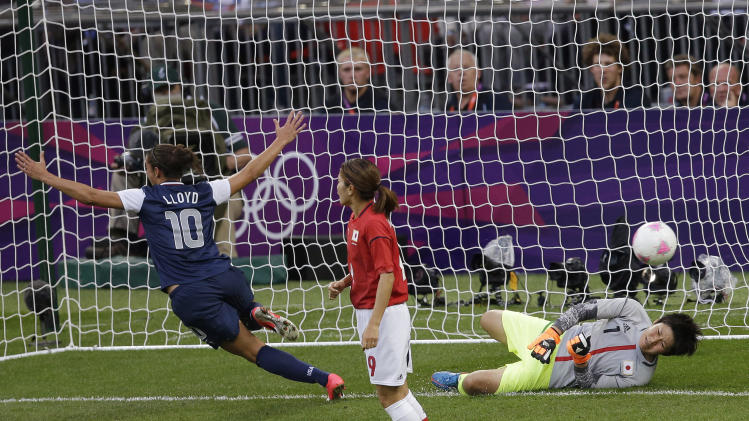 FILE - In this Thursday, Aug. 9, 2012 file photo, United States' Carli Lloyd (10) celebrates after scoring against Japan goalkeeper Miho Fukumoto (1) during the women's soccer gold medal match at the 2012 Summer Olympics, in London. (AP Photo/Andrew Medichini, File)