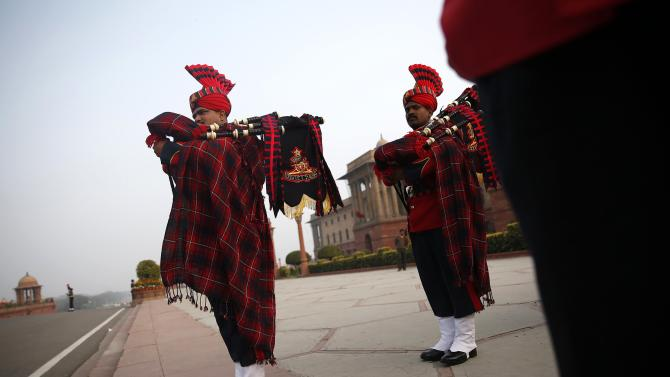 "Members of Indian military band rehearse for the ""Beating Retreat"" ceremony in New Delhi"