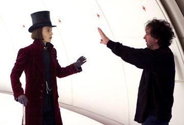 Johnny Depp and director Tim Burton on the set of Warner Bros. Pictures' Charlie and the Chocolate Factory