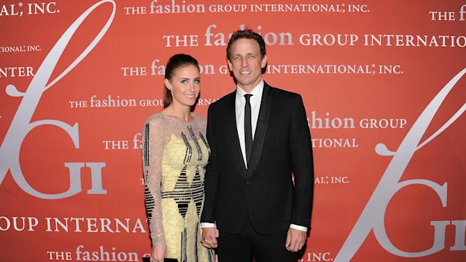 """Actor Seth Meyers and his girlfriend Alexi Ashe attend the 29th Annual """"Night Of Stars"""" presented by The Fashion Group International at Cipriani Wall Street on Thursday Oct. 25, 2012 in New York. (Photo by Evan Agostini/Invision/AP)"""