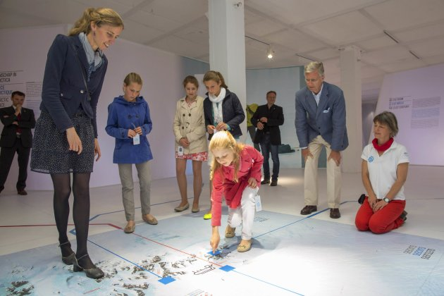 "Belgian Crown Prince Philippe, Princess Elisabeth and her classmates visit an exhibition on the Princess Elisabeth station in Antarctica entitled ""Inside the Station"" in Brussels"