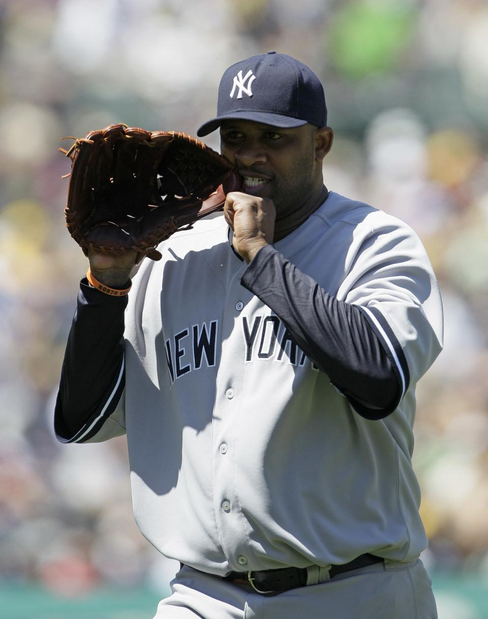 New York Yankees starting pitcher CC Sabathia walks back to the dugout at the end of the fifth inning of their baseball game against the Oakland Athletics Sunday, July 22, 2012 in Oakland, Calif.  (AP Photo/Eric Risberg)