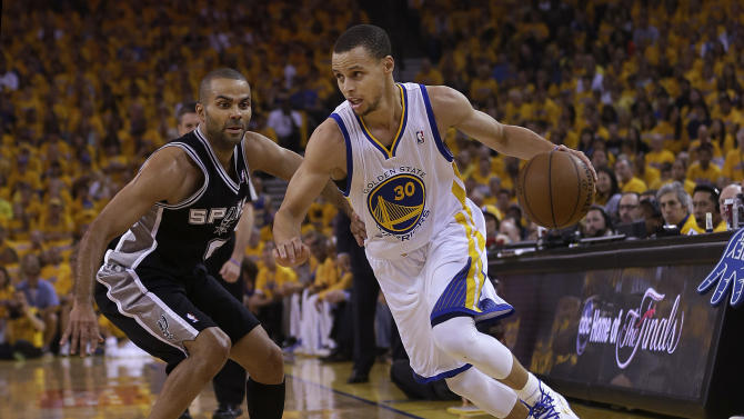 Golden State Warriors shooting guard Stephen Curry (30) drives against San Antonio Spurs point guard Tony Parker (9) during the first quarter of Game 4 of a Western Conference semifinal NBA basketball playoff series in Oakland, Calif., Sunday, May 12, 2013. (AP Photo/Marcio Jose Sanchez)