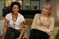 Courtney Love and Linda Perry stop by Access Hollywood Live to discuss their upcoming event, the L.A. Gay & Lesbian Center's An Evening with Women, on May 9, 2012 -- Access Hollywood