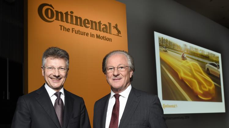 Degenhart CEO of Continental and Reitzle chairman of the supervisory board pose before shareholder meeting in Hanover