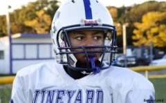 Vineyard Haven defensive back Randall Jette