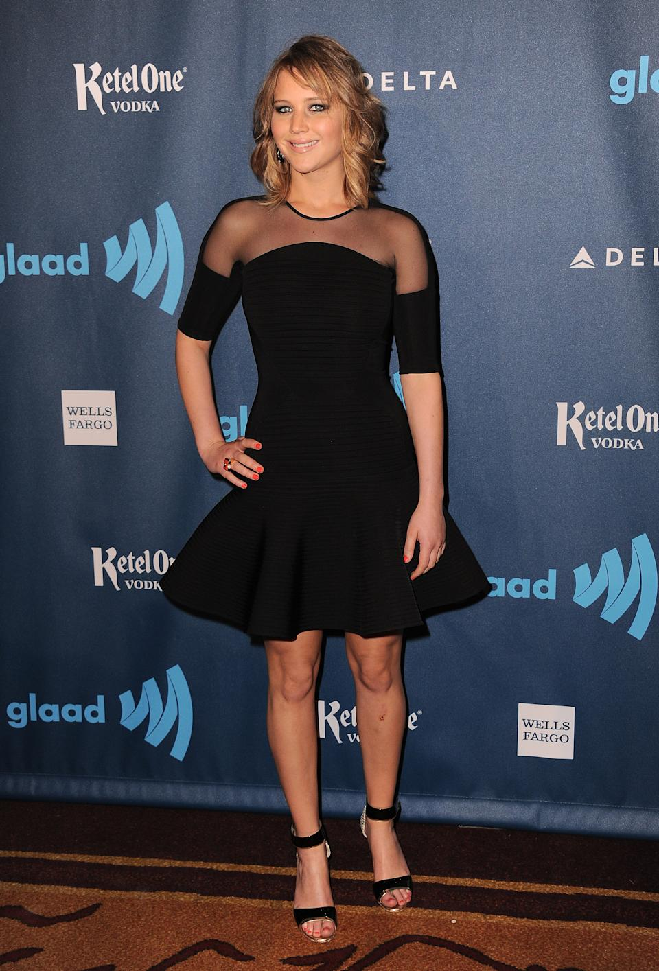 Jennifer Lawrence arrives at the 24th Annual GLAAD Media Awards at the JW Marriott on Saturday, April 20, 2013 in Los Angeles. (Photo by Jordan Strauss/Invision/AP)