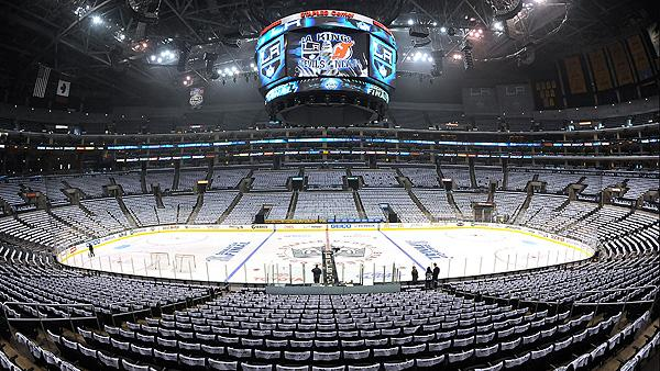 Empty NHL arena - Los Angeles Kings' Staples Center
