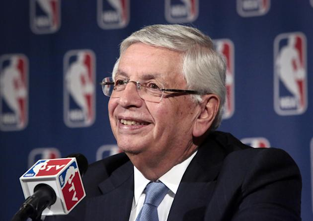 FILE - In this Oct. 23, 2013, file photo, NBA Commissioner David Stern smiles during a news conference after an NBA board of governors meeting in New York. The recently retired Stern was elected Frida