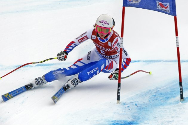 Margot Bailet of France skis during the women's World Cup super combined downhill race in Meribel, in the French Alps