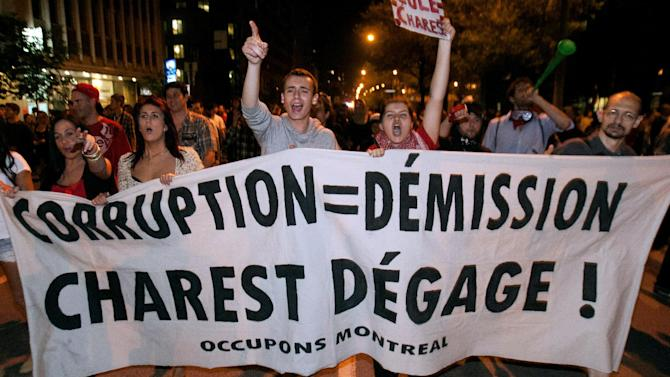 Thousands of demonstrators march in protest of tuition fee hikes through the streets of Montreal on Wednesday, May 23, 2012. (AP Photo/The Canadian Press, Ryan Remiorz)