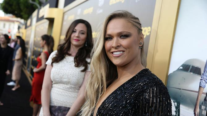 "Ronda Rousey seen at Warner Bros. Premiere of ""Entourage"" held at Regency Village Theatre on Monday, June 1, 2015, in Westwood, Calif. (Photo by Eric Charbonneau/Invision for Warner Bros./AP Images)"