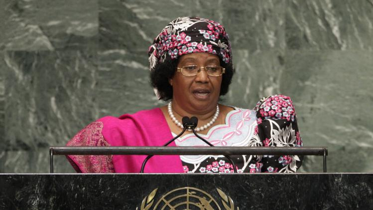 Malawi President Joyce Hilda Mtila Banda addresses the 67th session of the United Nations General Assembly at U.N. headquarters Wednesday, Sept. 26, 2012. (AP Photo/Frank Franklin II)