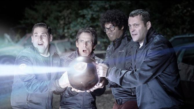 """This film image released by 20th Century Fox shows, from left, Jonah Hill, Ben Stiller, Richard Ayoade and Vince Vaughn in a scene from """"The Watch."""" (AP Photo/20th Century Fox, Melinda Sue Gordon)"""