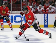 CHICAGO, IL - MAY 18: Brandon Saad #20 of the Chicago Blackhawks shoots against the Detroit Red Wings in Game Two of the Western Conference Semifinals during the 2013 NHL Stanley Cup Playoffs at the United Center on May 18, 2013 in Chicago, Illinois. The Red Wings defeated the Blackhawks 4-1. (Photo by Jonathan Daniel/Getty Images)