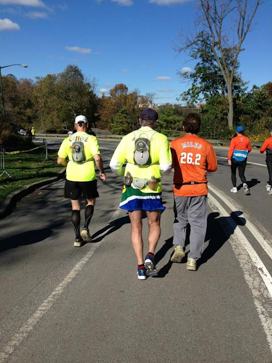 Blind runner and his guide taking part in the #unofficial #nycmarathon