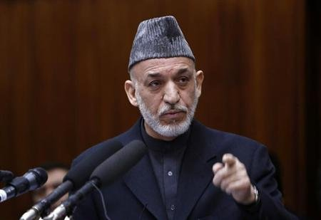 Afghanistan's President Hamid Karzai speaks during the opening ceremony of the third year of the Afghanistan parliament in Kabul March 6, 2013. REUTERS/Mohammad Ismail