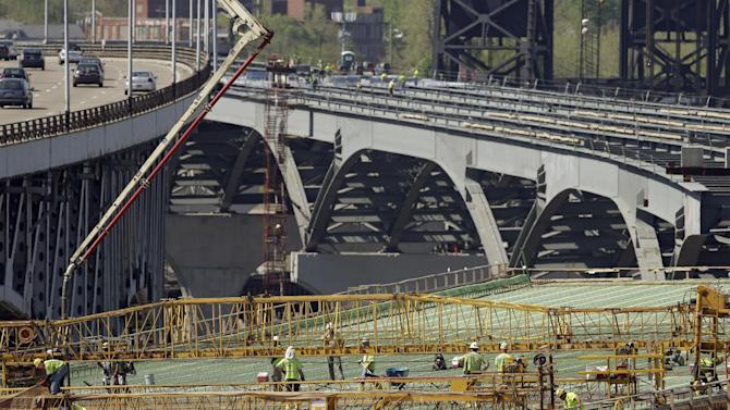In this Thursday, May 9, 2013 photo, workmen pour the concrete deck on the east end of the new Interstate 90 bridge under construction in Cleveland. Spending on residential housing rose in May to the highest level in 4½ years, helping to send overall construction spending higher despite a big drop in nonresidential activity. (AP Photo/Mark Duncan)