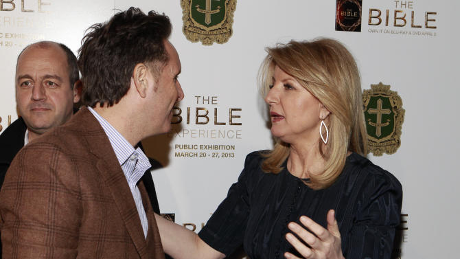 Producer Mark Burnett and Arianna Huffington attend the celebration of theApril 2Blu-ray, DVD, and Digital HD releaseof THE BIBLEfrom Twentieth Century Fox Home Entertainment  during The Bible Experience opening night gala, a rare exhibit of biblical artifacts on Tuesday, March 19 in New York. (Photo by Mark Von Holden/Invision for Fox Home Entertainment/AP Images)