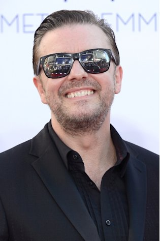 Ricky Gervais arrives at the 64th Annual Primetime Emmy Awards at Nokia Theatre L.A. Live in Los Angeles on September 23, 2012  -- Getty Images