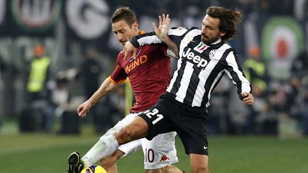Roma forward Francesco Totti and Juventus midfielder Andrea Pirlo (Reuters)
