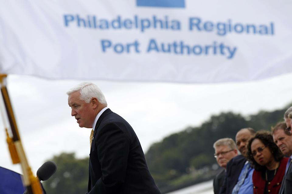 Gov. Tom Corbett, R-Pa., speaks during a news conference at the Packer Avenue Marine Terminal on the Delaware River Wednesday, Sept. 21, 2011 in Philadelphia. Gov. Corbett is releasing $15 million to continue a controversial dredging project on the Delaware River. (AP Photo/Alex Brandon)