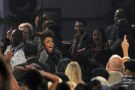 Singer Jennifer Hudson wades into the audience at &quot;We Will Always Love You: A Grammy Salute to Whitney Houston,&quot; at Nokia Theatre on Thursday, Oct. 11, 2012, in Los Angeles. The one-hour concert tribute will air on CBS on Nov. 16. (Photo by Chris Pizzello/Invision/AP)