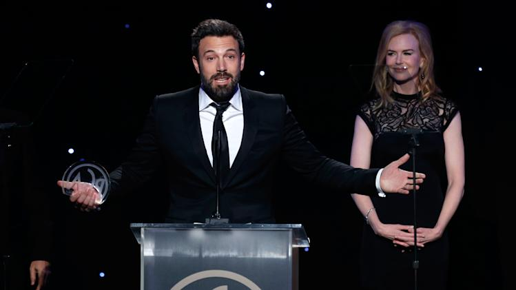 Ben Affleck, left, accepts the award for and Nicole Kidman onstage at the 24th Annual Producers Guild (PGA) Awards at the Beverly Hilton Hotel on Saturday Jan. 26, 2013, in Beverly Hills, Calif. (Photo by Todd Williamson/Invision for The Producers Guild/AP Images)