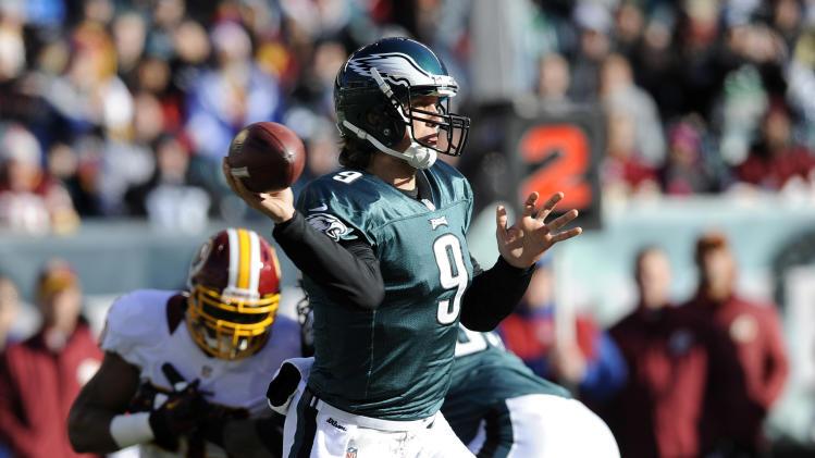 Philadelphia Eagles' Nick Foles (9) passes in the first half of an NFL football game against the Washington Redskins, Sunday, Dec. 23, 2012, in Philadelphia. (AP Photo/Michael Perez)