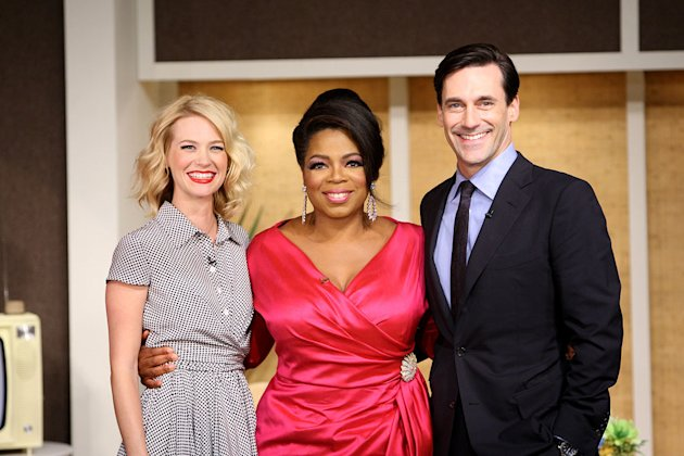 "Oprah hosts the cast of ""Mad Men"" during her trip back to the '60s on a special episode of ""The Oprah Winfrey Show"" on September 21, 2009."