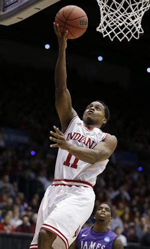 Indiana guard Yogi Ferrell drives against James Madison in the first half of a second-round game at the NCAA college basketball tournament, Friday, March 22, 2013, in Dayton, Ohio. Ferrell led Indiana to an 83-62 win with 16 points and six assists. (AP Photo/Al Behrman)