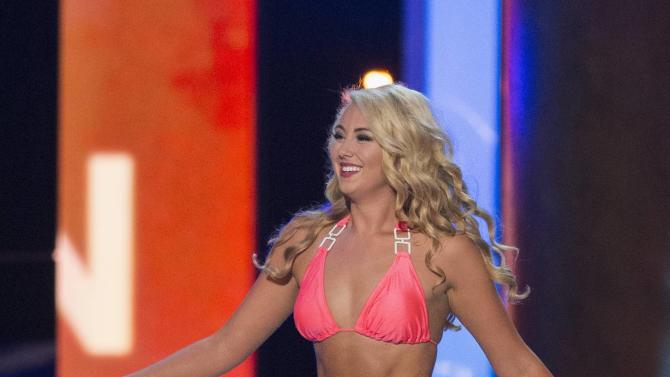 Miss North Dakota Jacky Arness sports a swimsuit during the final 2015 Miss America Competition in Atlantic City, New Jersey