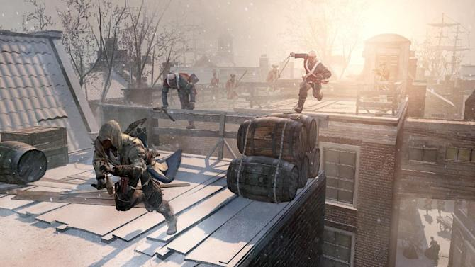 "This video game image released by Ubisoft shows an assassin fleeing across the rooftops of colonial New York in a scene from ""Assassin's Creed III."" (AP Photo/Ubisoft)"