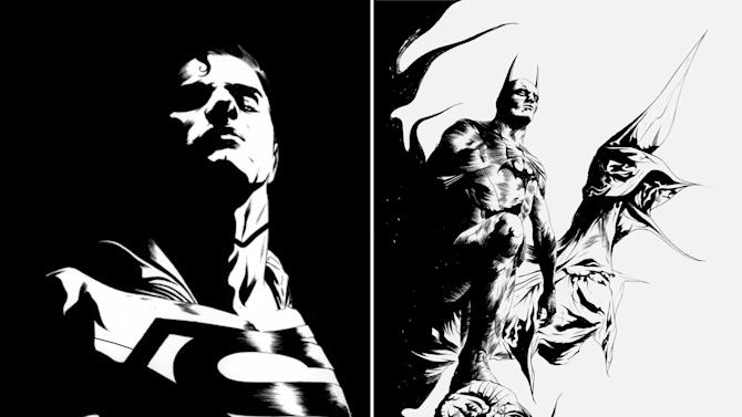 "This black and white combo image of two sketches released by DC Entertainment shows an image of Superman, left, and Batman.  DC Entertainment says it will unveil a new ongoing series focusing on Superman and Batman, two of the publisher's best-known and revered heroes. ""Batman/Superman"" is set to debut in June and will be written Greg Pak and illustrated by Jae Lee. It will focus on how the two iconic heroes first met in the publisher's relaunched universe, dubbed The New 52. (AP Photo/DC Entertainment)"