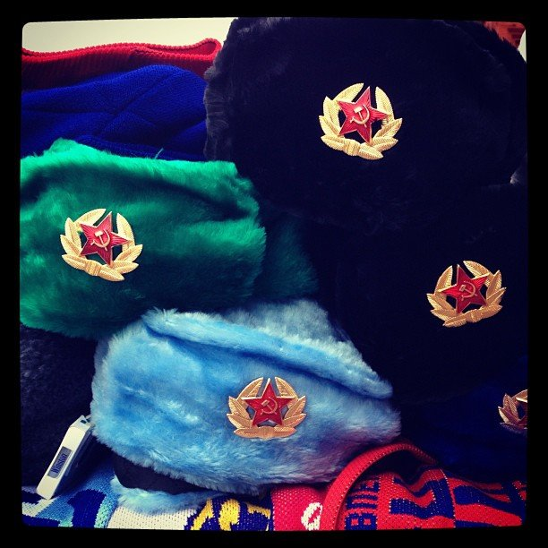 Russian hats for sale on the streets of Moscow