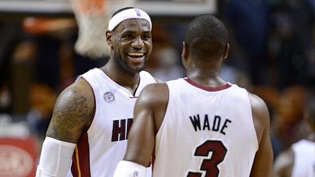 Miami Heat's LeBron James and Dwyane Wade during the second half of their NBA game against the Atlanta Hawks (Reuters)