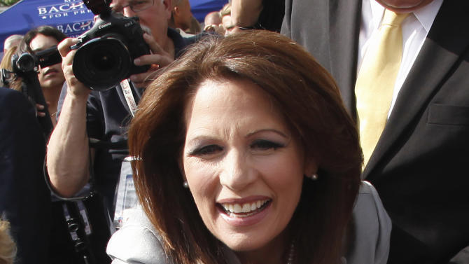 Rep. Michele Bachmann, R-Minn., greets supporters after her formal announcement to seek the 2012 Republican presidential nomination, Monday, June 27, 2011, in Waterloo, Iowa. Bachmann, who was born in Waterloo, will continue her announcement tour this week with stops in New Hampshire and South Carolina. (AP Photo/Charlie Riedel)
