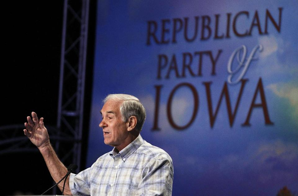 Republican presidential candidate Rep. Ron Paul, R-Texas speaks at the Republican Party's Straw Poll in Ames, Iowa, Saturday, Aug. 13, 2011. (AP Photo/Charles Dharapak)