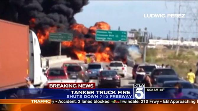 Southbound 710 Freeway Remains Closed After Tanker Truck Crash Ignites Inferno