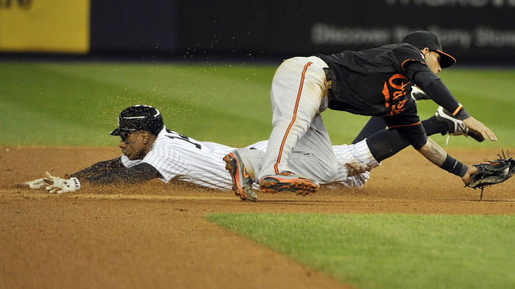 New York Yankees' Curtis Granderson steals second base as Baltimore Orioles' Robert Andino (11) fields the wide throw during the fifth inning of Game 5 of the American League division baseball series Friday, Oct. 12, 2012, in New York. (AP Photo/Bill Kostroun)