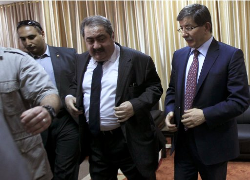 Iraq's Foreign Minister Zebari and his Turkish counterpart Davutoglu meet in Gaza