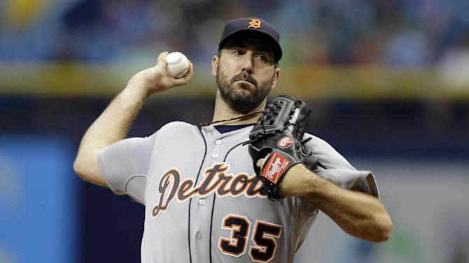 Detroit Tigers' Justin Verlander pitches to the Tampa Bay Rays during the first inning of a baseball game Wednesday, July 29, 2015, in St. Petersburg, Fla.  (AP Photo/Chris O'Meara)